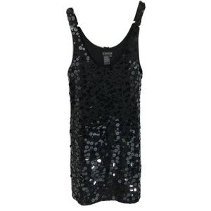 Venus Disc Sequined Mini Dress Black